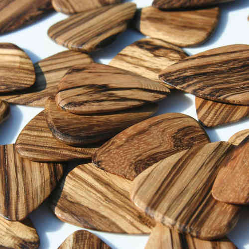 Timber Tone Guitar Wood Pick - Zebrawood (medium bright, medium hard)