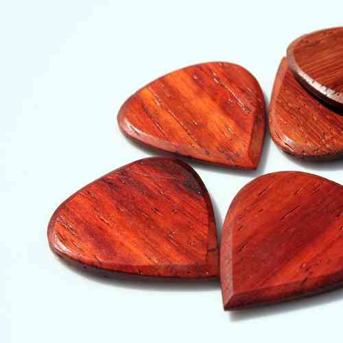 Blues Tones Wooden Plectrum - Padauk