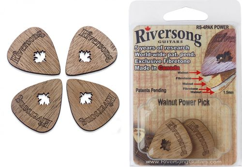 Riversong Power Plectra (Pack of 4) - Walnut and Fibretone Plectra