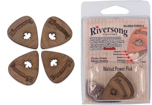 Riversong Power-X Plectra (Pack of 4) - Walnut and Fibretone Plectra